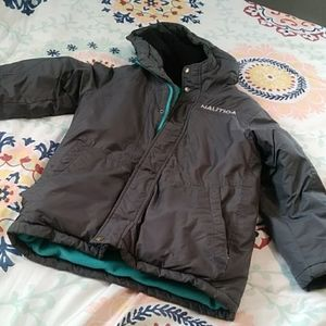Boy Size S (8) Grey and Turquoise Winter Coat